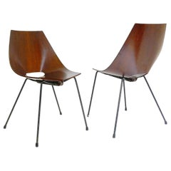 Set of Two Italian Chairs Designed by Carlo Ratti, circa 1960