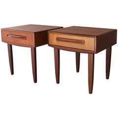 Pair of Rare 1970s Midcentury G Plan E Gomme Fresco Range Bedside Tables