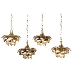 Four Midcentury Brass Lotus Light Fixtures, Priced Individually