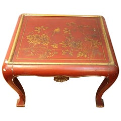 20th Century Lacquered and Painted Wood Japanese Side Table or Sofa Table