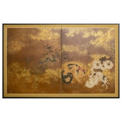 Japanese Two-Panel Screen, Mother and Kitten with Chrysanthemums