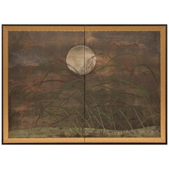 Japanese Two Panel Screen Moon and Wild Grasses on Oxidized Silver with Clouds