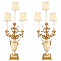 Pair of French 19th Century Louis XVI Style Carrara Marble and Ormolu Candelabra