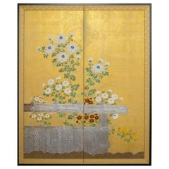 Japanese Two-Panel Screen, Rimpa Style Chrysanthemums on a Twig Fence
