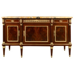 French Louis XVI Style Mahogany and Ormolu Buffet Attribute to P. Sormani