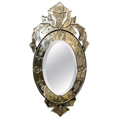 Small Sized Oval Venetian Mirror with Big Glitz Factor