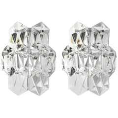 Pair of Kinkeldey Sconces Chrome and Crystal, 1960
