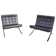 Pair of Barcelona Chairs by Mies van der Rohe for Knoll