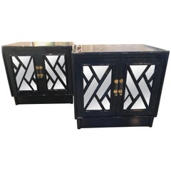 Vintage Pair Navy Lacquered Chinese Chippendale Mirrored Door Nightstands Chests
