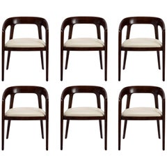 Set of 6, Scandinavian Style Dining Chairs in Dark Walnut and Beige Finish