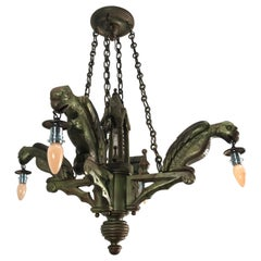Rare Hand Carved Wooden Gothic Revival Art Chandelier with Gargoyle Sculptures