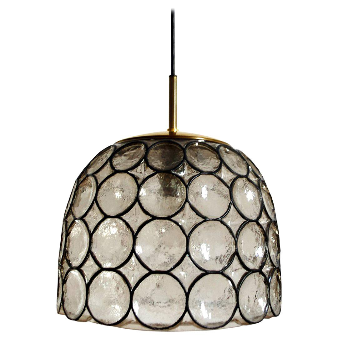 Huge German Vintage Glass and Brass Pendant Ceiling Lamp, 1960s