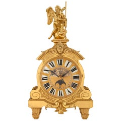 French 19th Century Louis XIV Style Ormolu Clock Stamped 'DENIERE A PARIS""