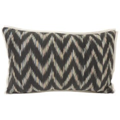 Vintage Ikat Woven Blue and Grey Decorative Lumbar Pillow