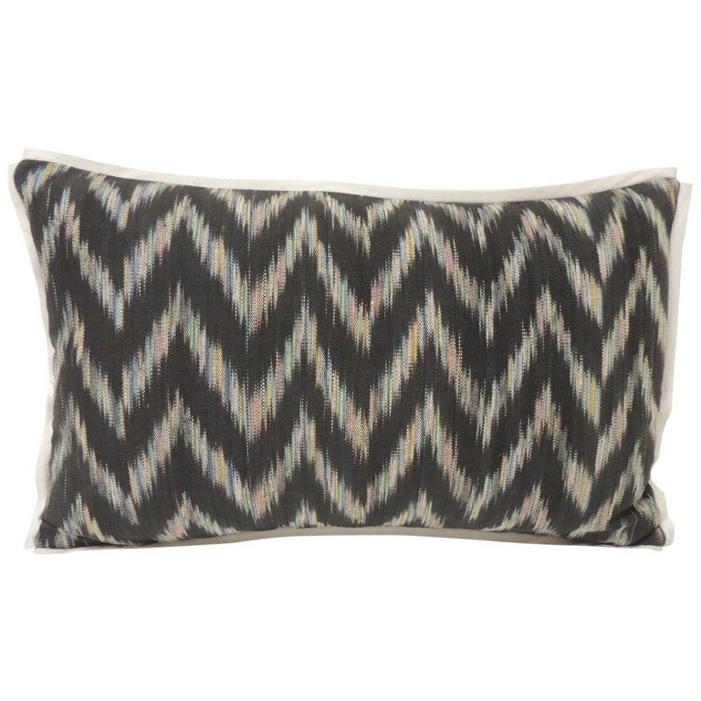Vintage Ikat Woven Blue and Grey Decorative Lumbar Pillow For Sale