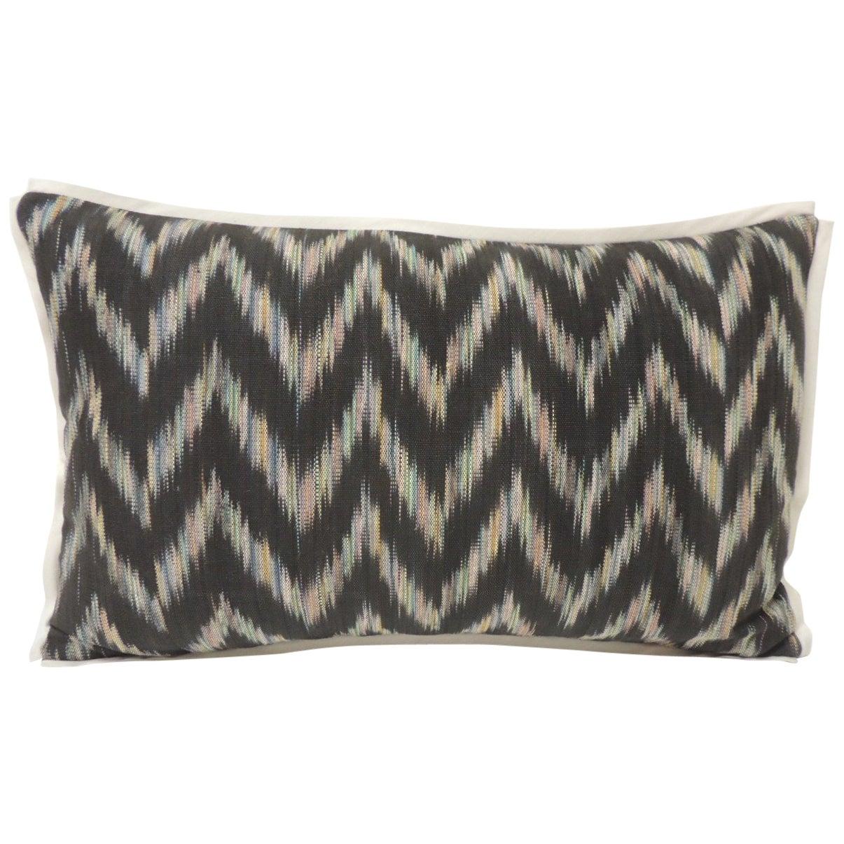 Vintage Ikat Woven Blue and Grey Decorative Lumbar Pillow