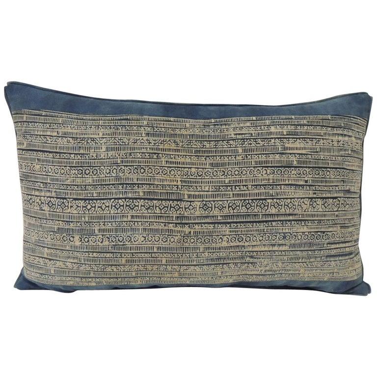 Vintage Blue and Natural Hand-Blocked Tribal Batik Lumbar Decorative Pillow For Sale