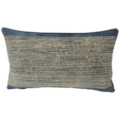 Vintage Blue and Natural Hand-Blocked Tribal Batik Lumbar Decorative Pillow