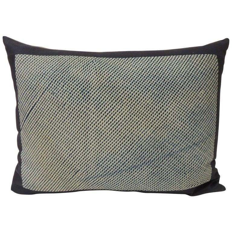 Vintage Shibori Asian Blue and White Decorative Bolster Pillow For Sale