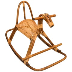 1960s Rattan and Bamboo Rocking Horse, Sculpture Attributed to Franco Albini