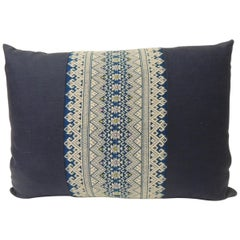 Vintage Blue and White Embroidered Asian Decorative Lumbar Pillow