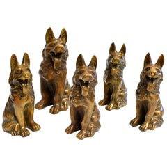 Five Brass Dogs Sculptures, Paperweights
