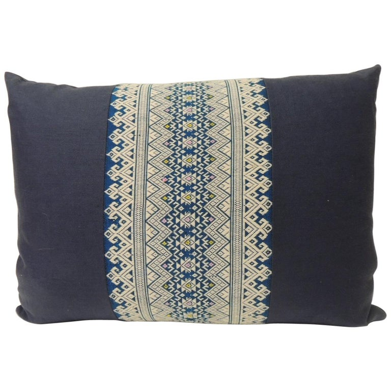 Vintage Blue and White Embroidered Asian Decorative Lumbar Pillow For Sale
