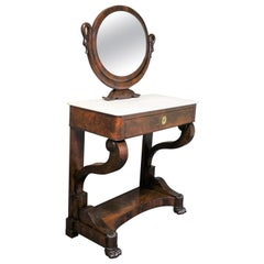 19th Century French Empire Mahogany Vanity with Marble Top and Oval Tilt Mirror