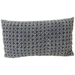 Vintage Blue and White Hand-Blocked Decorative Lumbar Pillow