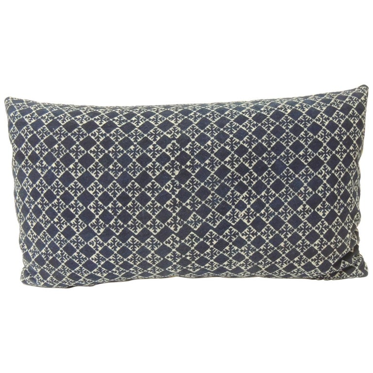 Vintage Blue and White Hand-Blocked Decorative Lumbar Pillow For Sale