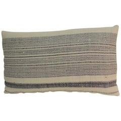 Vintage Chinese Homespun Blue and Natural Stripe Lumbar Pillow