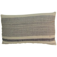 Vintage Chinese Homespun Blue and Natural Stripe Lumbar Pillow