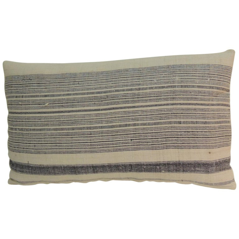 Vintage Chinese Homespun Blue and Natural Stripe Lumbar Pillow For Sale