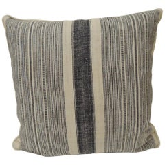 Vintage Chinese Homespun Blue and Natural Stripe Square Pillow