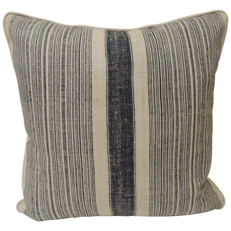 Vintage Chinese Homespun Blue and Natural Stripe Square Pillow For Sale