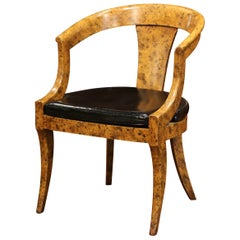 Mid-20th Century French Louis Philippe Carved Painted Desk Armchair with Leather