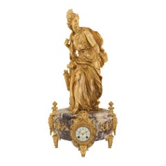 French 19th Century Louis XVI Style Marble & Ormolu Clock Signed Eugène Baguès
