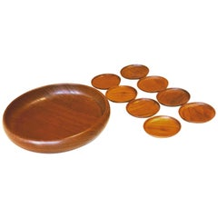 Dani Modern Snack Bowl with Set of 8 Mini-Plates in Solid Teak by Kay Bojesen