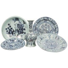Collection of Antique Delft with Chinoiserie Decoration Early 18th Century