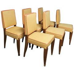 Six French Art Deco Dining Room Chairs