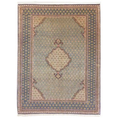 Persian Hand Knotted Blue Qum Rug, circa 1960s