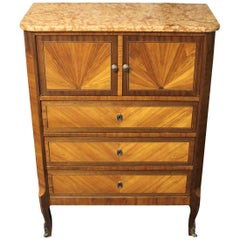 19th Century French Louis XVI Style Cabinet with Marble Top