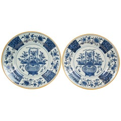"Pair Antique Blue and White Delft Chargers Made by ""The Axe"" circa 1780"