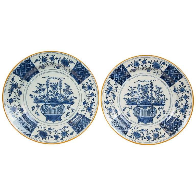 "Pair Antique Blue and White Delft Chargers Made by ""The Axe"" circa 1780 For Sale"