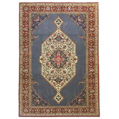 Persian Hand Knotted Medallion Floral Blue Tabriz Rug, 1970s