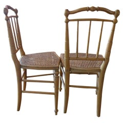 Pair of French 19th Century Bamboo and Cane Side Chairs