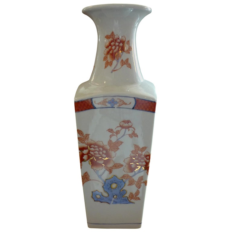 American Contemporary Porcelain Vase with Painted Glazed Flowers For Sale