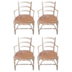 Set of Four French 19th Century Painted Provencal Armchairs with Rush Seats
