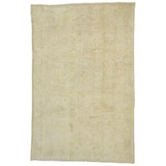 Vintage Turkish Oushak Rug with Monochromatic Mission Style with Neutral Tones
