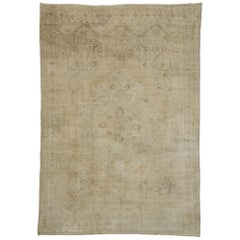 Vintage Turkish Oushak Rug with Monochromatic Mission Style and Muted Colors